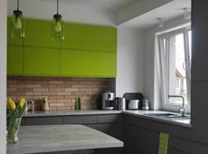 Zielono-szara kuchnia w Trzciance